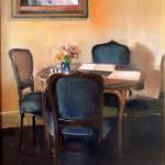 "Corner Table - 20"" x 16"" - Oil on Canvas - Thalia Stratton"