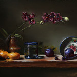 "ORCHIDS & ITALIAN BOWL 12"" x 24"" -Oil on Linen -Eduardo Chacon"