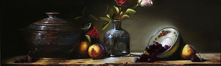 """ROSES - 12"""" x 20"""" - Oil on Linen - Eduardo Chacon"""