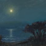 """Full Moon on Carmel Beach - 8"""" x 10"""" - Oil - Jason Sacran"""