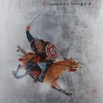"Mongolian Warrior Sword - 20"" x 20"" - Acrylic on Board - Mou-Sien Tseng"