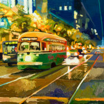 "Market Night - 40"" x 30"" - Oil on Canvas - Russ Wagner"