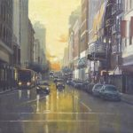 "Setting Sun in San Francisco - 36"" x 36"" - Oil on Board - Richard Boyer"