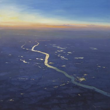 "The Mighty Missouri at 27,000 - 40"" x 40"" - Oil on Board - Richard Boyer"