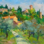 "Mountain Village in Tuscany - 24"" x 30"" - Oil on Canvas - Guido Frick"