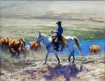 "Easy Muster - 16"" x 20"" - Oil On Canvas - Robert Hagan"
