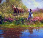 "Making Friends - 20"" x 24"" - Oil on Canvas - Robert Hagan"