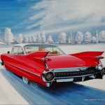 "Dashing Through the Snow , Red 59 Cadillac - 17"" x 26"" - Oil on Canvas - Ken Eberts"