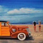 "Surfer Essentials, Chevrolet Woody - 22"" x 35"" - Oil On Canvas - Ken Eberts"