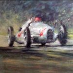 "Auto Union 1938 Nu Volari at Donington - 27"" x 37"" - Oil - Peter Hearsey"