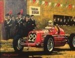 "Napoli 1934 Coppa de Piemonte (Nuvolari Maserati) - 8"" x 10"" - Oil on Canvas - Barry Rowe"