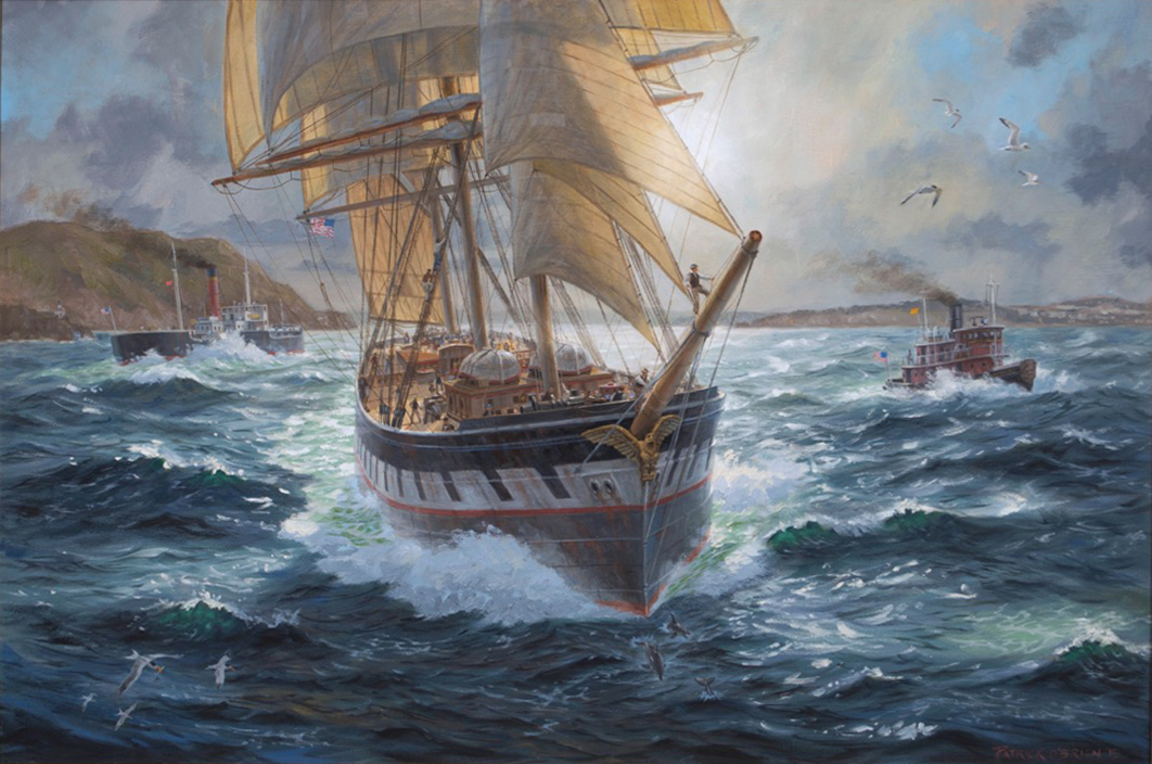 "Outbound Windjammer in the Golden Gate - 24"" x 36"" - Oil On Canvas - Patrick O' Brien"