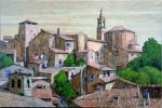 "Orvieto Rooftops Tuscany - 24"" x 36"" - Watercolor - Gerald Brommer"
