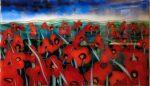 """Papaveri N75 - 23"""" x 35"""" - Reverse Glass Painting - Massimo Cruciani"""