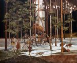 """La Chasse - 70"""" x 84"""" - Marquetry - Jean Charles Spindler"""