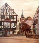 "Turckheim 2016 - 33"" x 29"" - Marquetry - Jean Charles Spindler"