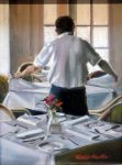 """Changing of the Table Cloth - 16"""" x 12"""" - Oil on Caanvas - Thalia Stratton"""