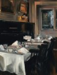 """Dining In New York - 20"""" x 16"""" - Oil on canvas - Thalia Stratton"""