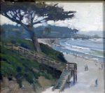 "Afternoon Walk Carmel Beach Stairs - 12"" x 12"" - Oil - Jason Sacran"
