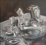 "Table Setting II - 12"" x 12"" - Oil on Canvas - Thalia Stratton"