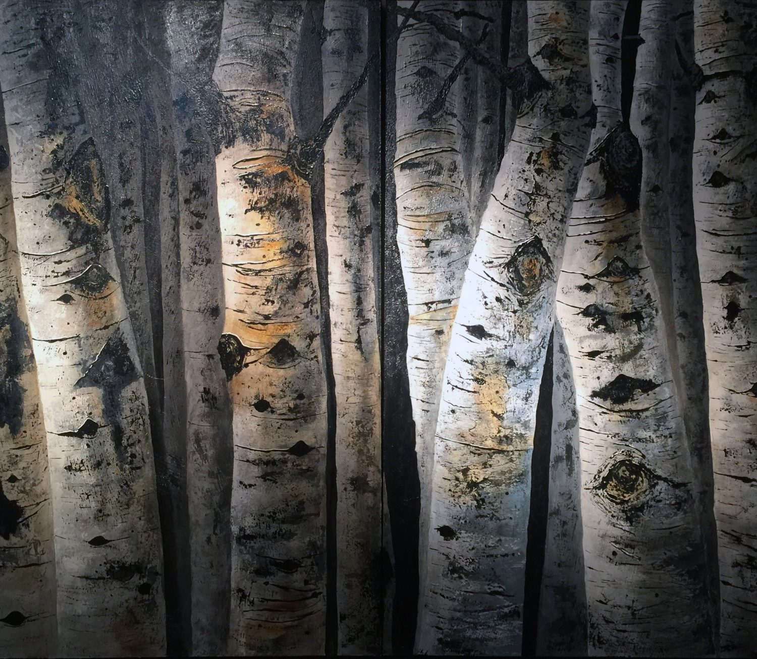 "Aspen Gray Diptych - 48"" x 72"" - Kenneth Ray Wilson"