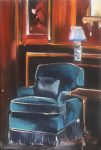 """Chaise on Prussian Blue - 10"""" x 8"""" - Oil on Canvas - Thalia Stratton"""