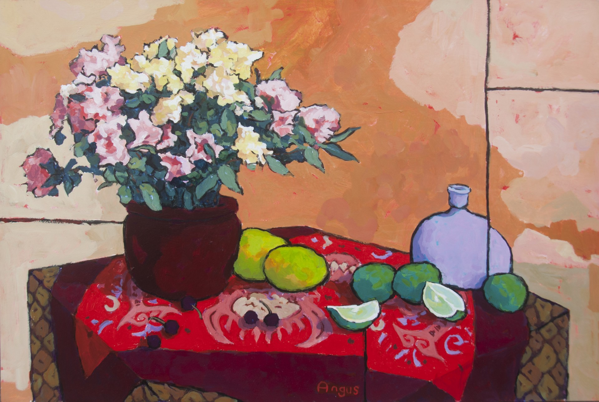 "Rhododendron and Fruit on Dragon/Fish Cloth - 24"" x 36"" - Angus Wilson"