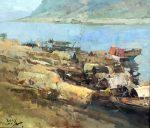 "Houseboats on the River - 20"" x 24"" - Jove Wang"