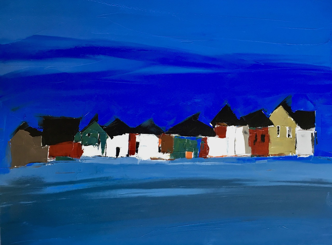 "Blue Row of Houses | 24"" x 30"" 
