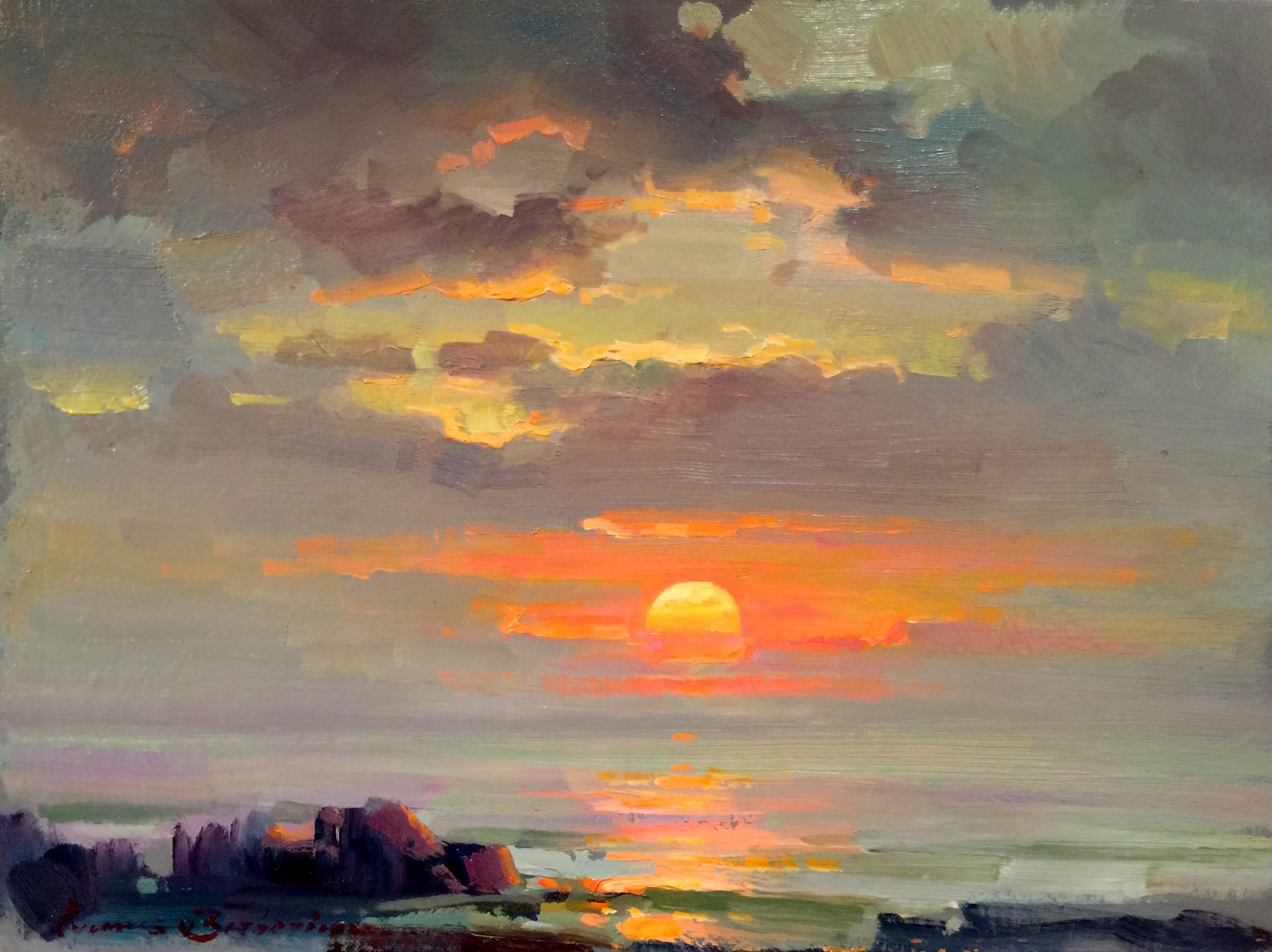 "Evening Over Pacific | 12"" x 16"" 