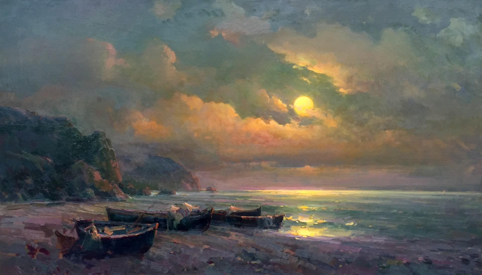 "Moonlit Night | 37"" x 64"" | Ovanes Berberian"