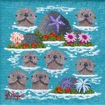 """Petite Otters 7   4"""" x 4""""   Merry Kohn Buvia"""