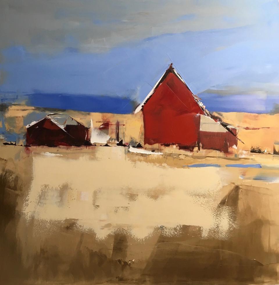 "Red House | 30"" x 30"" | Sandra Pratt"