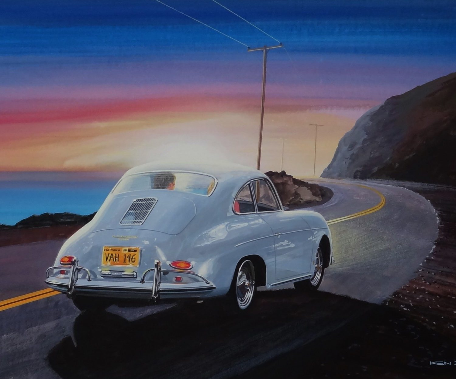 "Porsche on Highway 1 1959 | 16"" x 24"" 