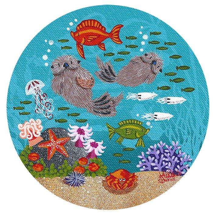 "Little Round Otters | 2"" x 5"" | Merry Kohn Buvia"