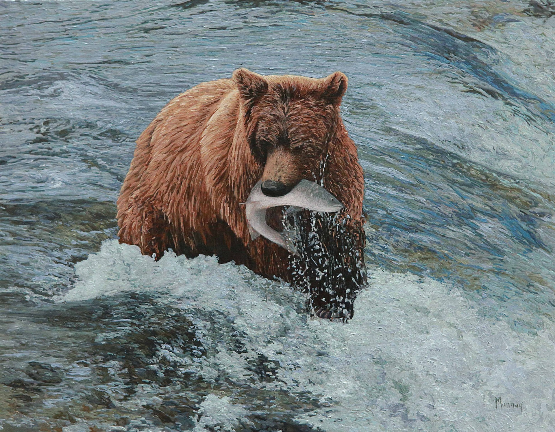 "Bear with a Fish | 14"" x 18"" 