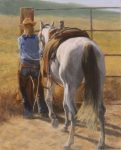 "Out Riding Fences | 20"" x16"" 