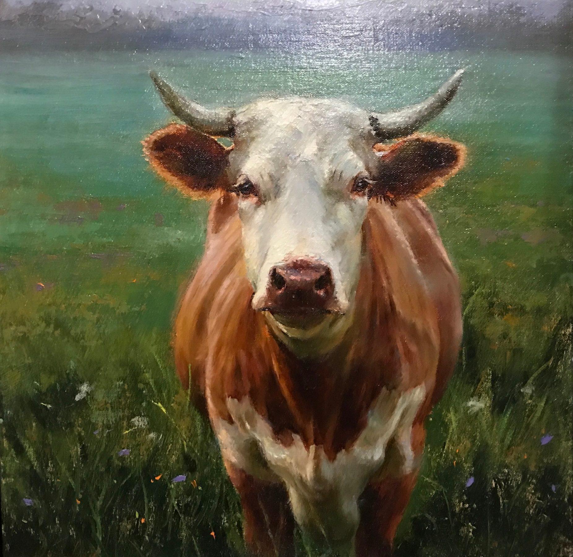 "Cow's Gaze | 12"" x 12"" | Regina Lyubovnaya"