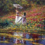 "Her Parasol | 30"" x 30"" | Robert Hagan"