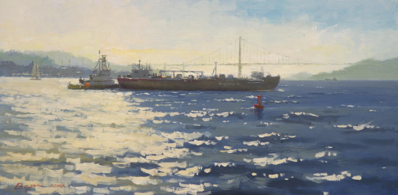 "San Francisco - Crossing the Bay | 12"" x 24"" | Richard Boyer"