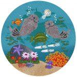 "Little Round Otters 7 | 5"" x 5"" | Merry Kohn Buvia"