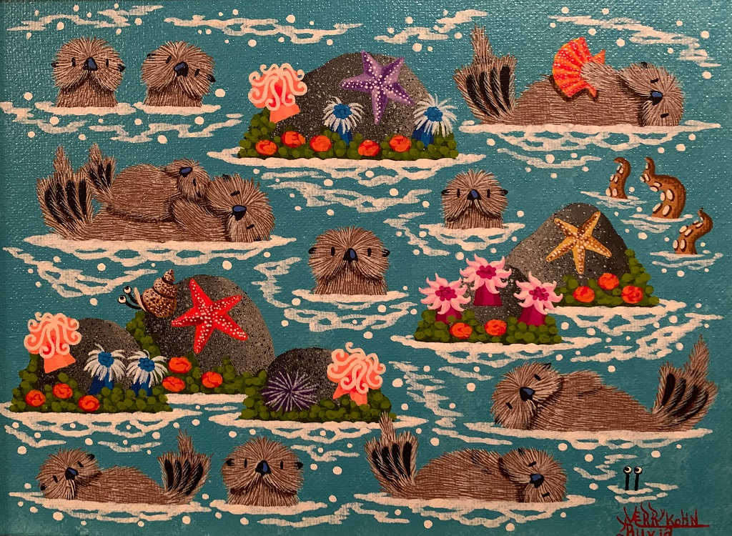 "Monterey Bay Otters | 13"" | Merry Kohn Buvi"