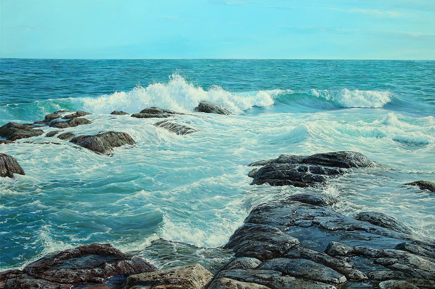 "Washing in the Tide | 29"" x 42"" | Mark Esteve"