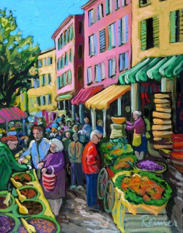 "Market Day in Tarascan | 20"" x 18"" 