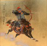 "Warrior Shooting Practice | 16"" x 16"" | Mou-Sien Tseng"