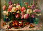 "Still Life with Peaches & Flowers | 36"" x 48"" 