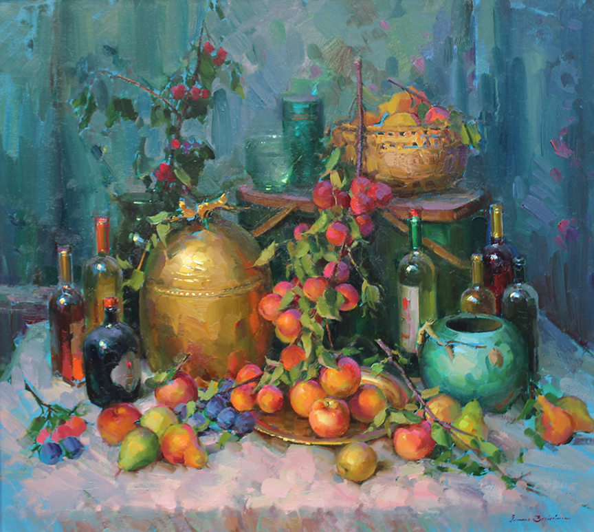 "Still Life with Wine Bottles and Fruit | 36"" x 40"" 