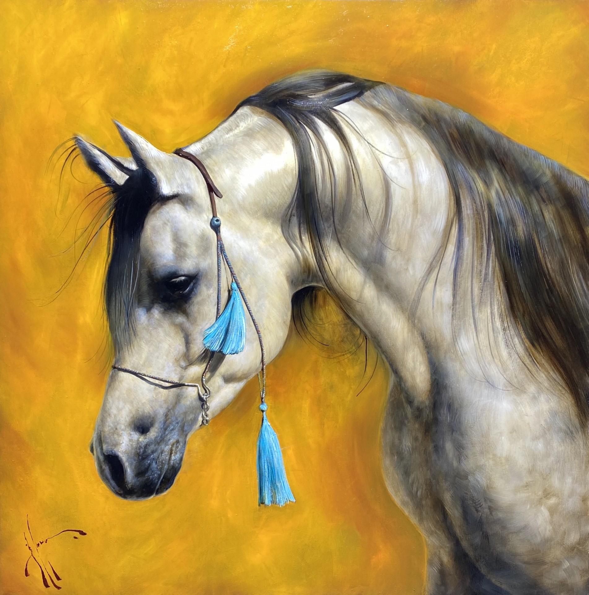 White Arabian with Tassels | 33″ x 33″ | Vladimir Muhin