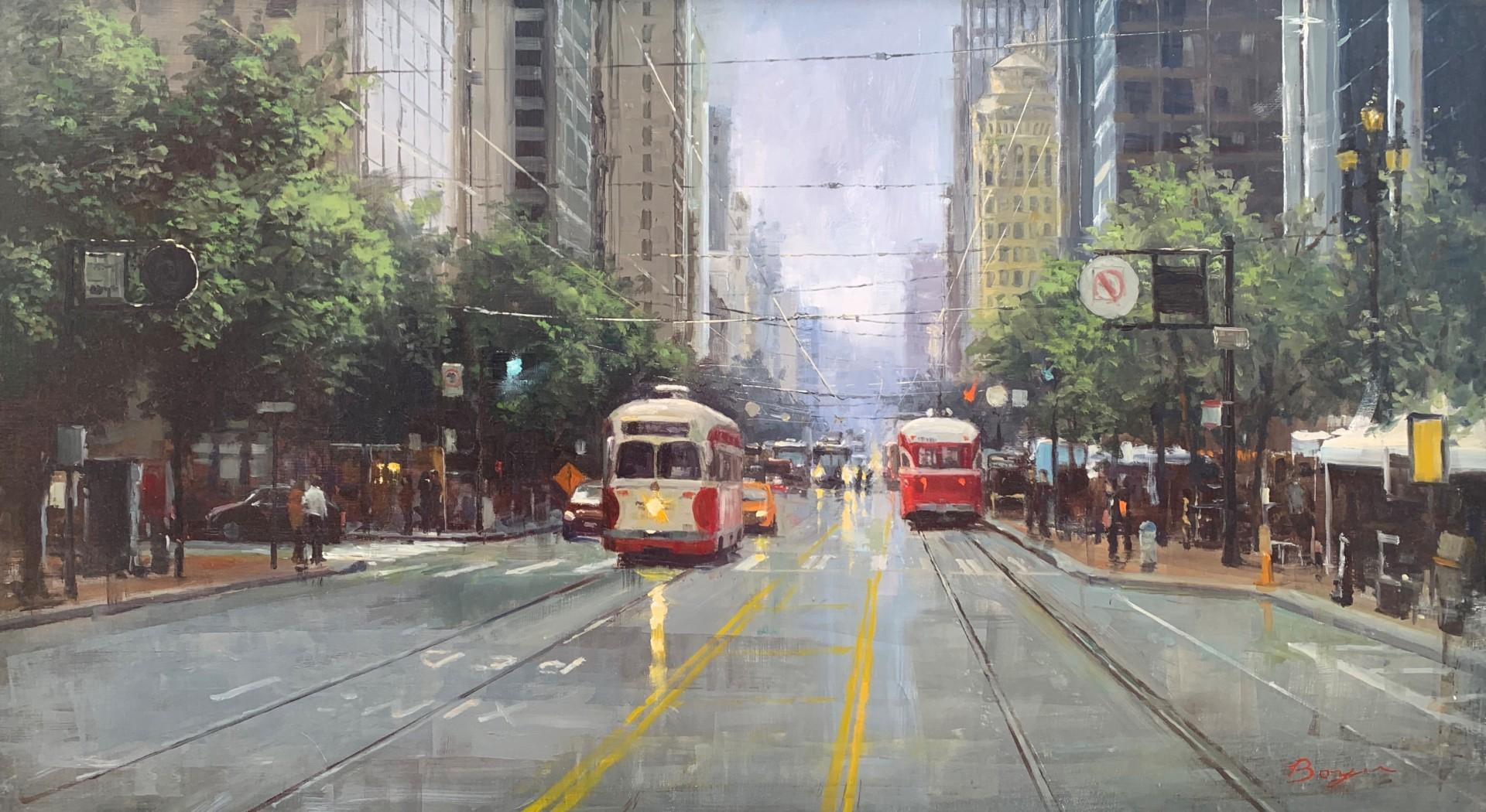 Trolleys on Market Street | 22″ x 40″ | Richard Boyer