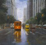 "Trolleys on Market | 36"" x 36"" | Richard Boyer"